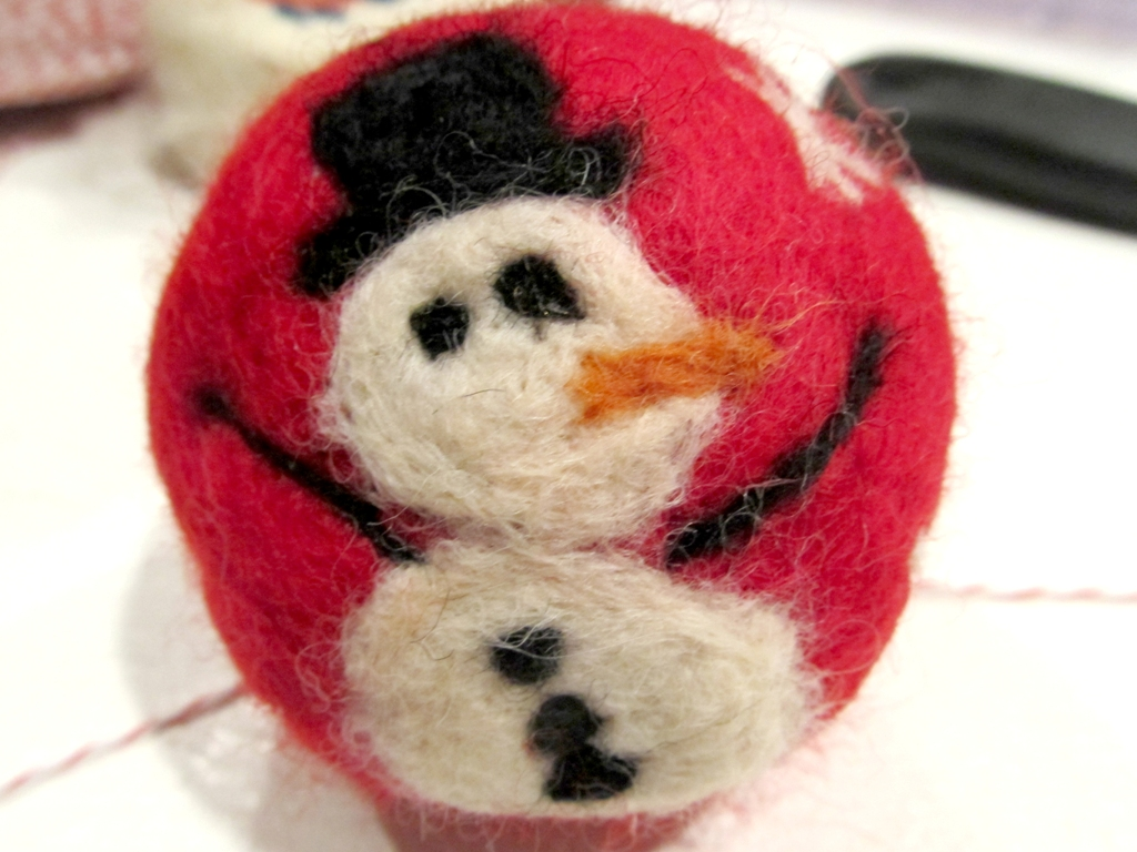 snow man felted soap