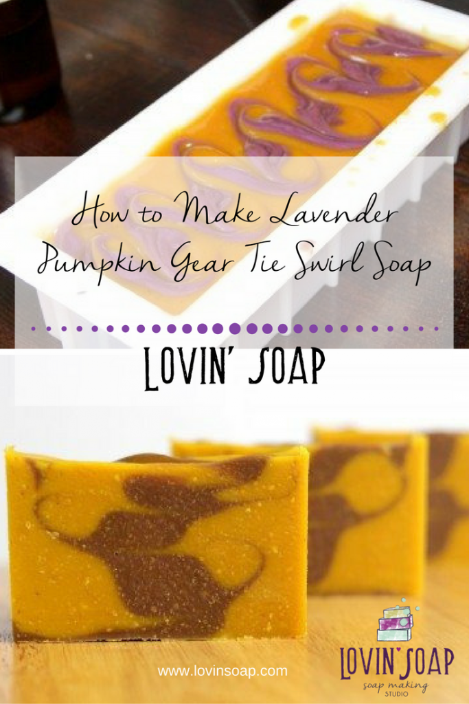 How to Make Lavender Pumpkin Gear Tie Swirl Soap
