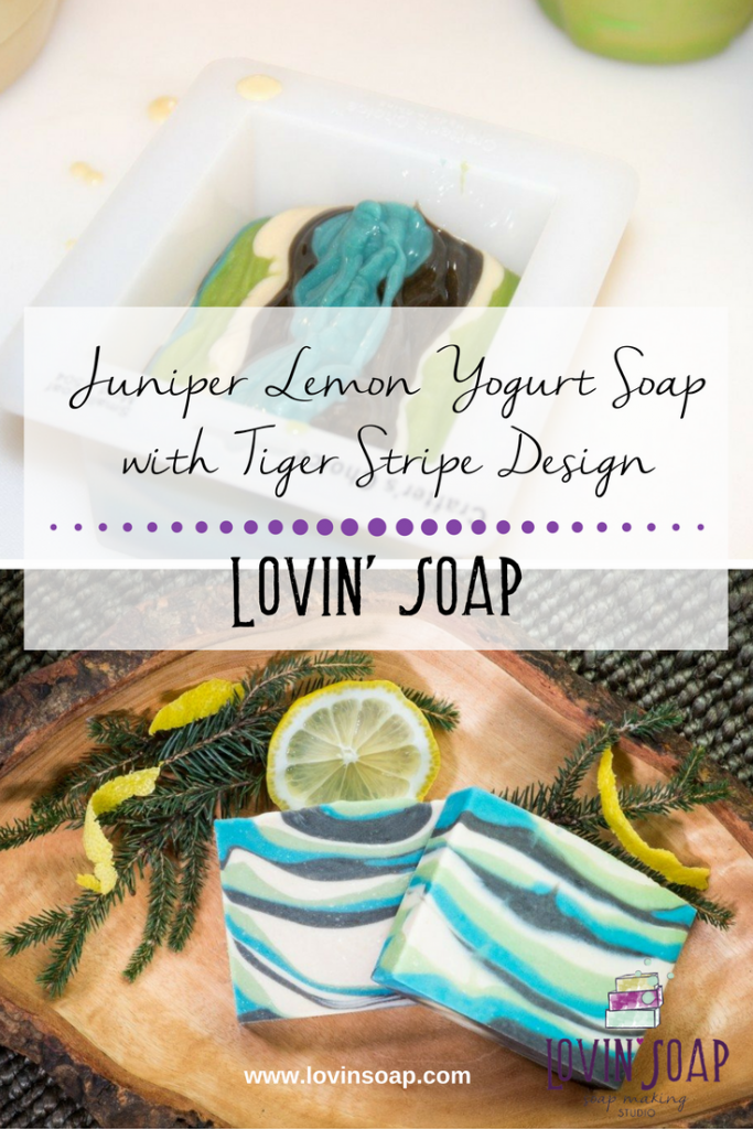 Juniper Lemon Yogurt Soap with Tiger Stripe Design