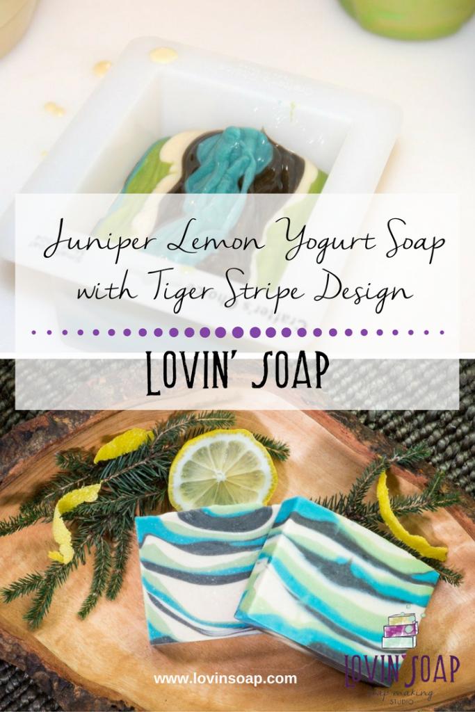 Juniper Lemon Yogurt Soap with Tiger Stripe Design