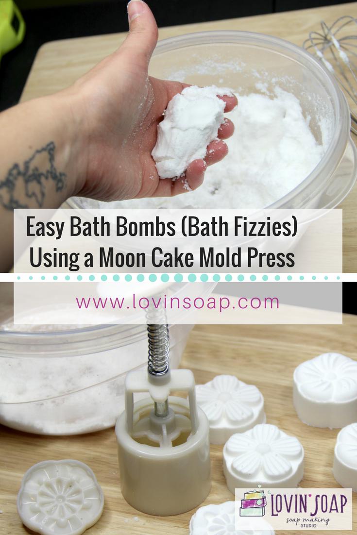 easy bath bombs bath fizzies using a moon cake mold