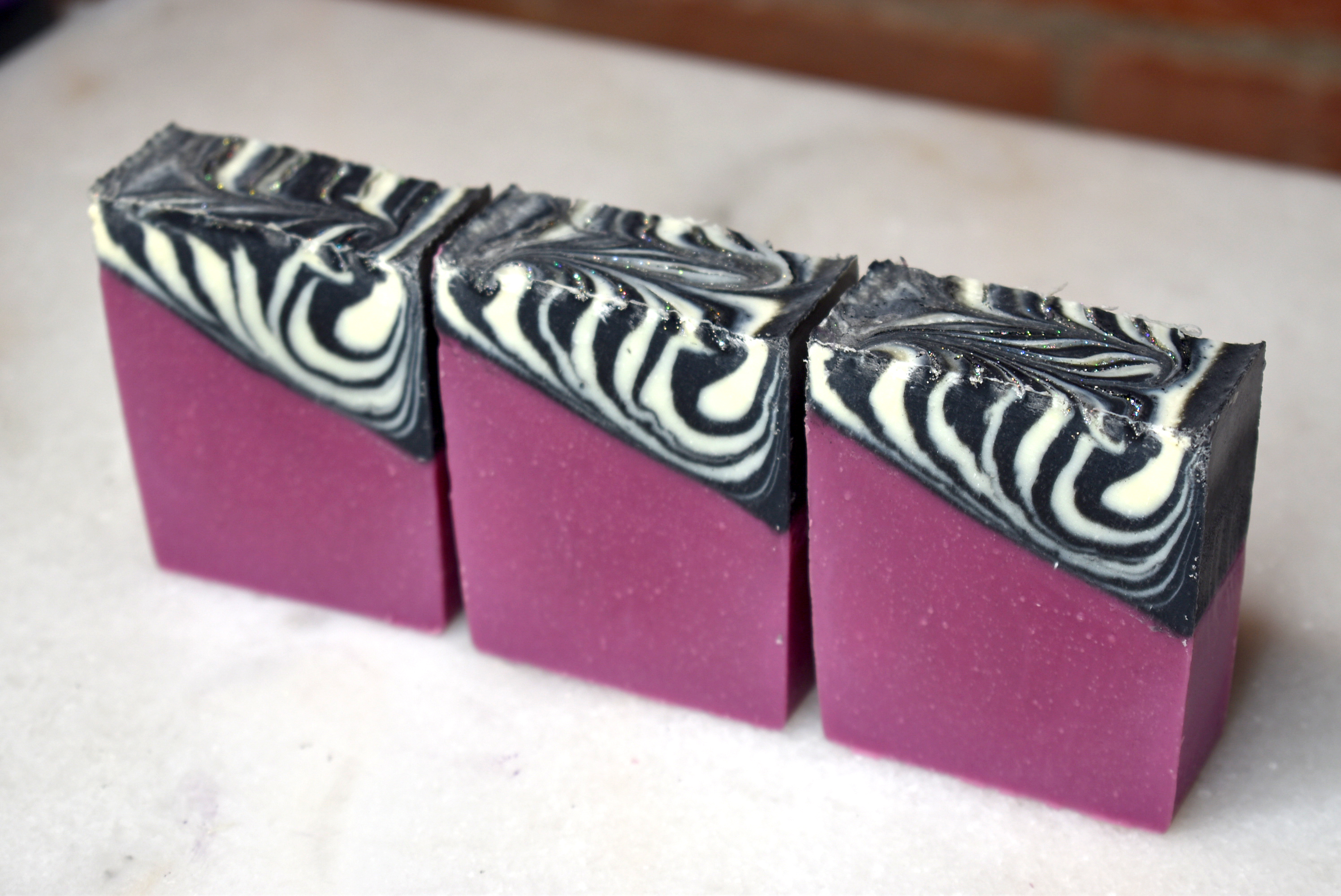 Zebra Glam Cold Process Soap Design Video on Water Walk Experiment Freebie And