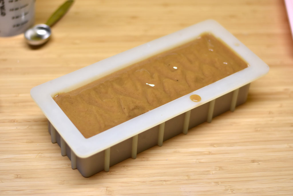 pour coffee soap into mold